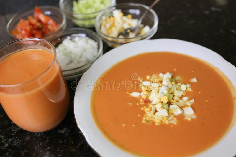 Andalusian gazpacho Andalusian and Spanish cuisine royalty free stock photos