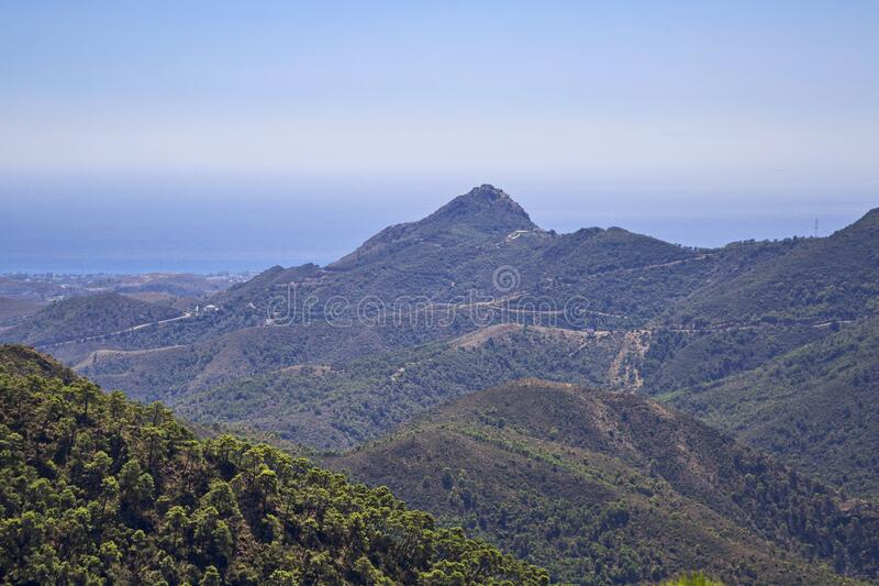 Andalusian landscape with mountains stock photo