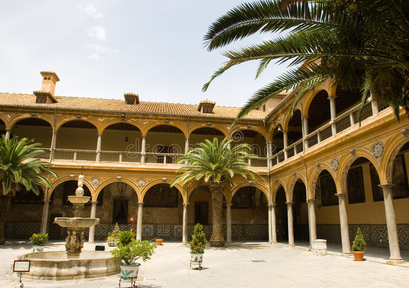 Andalusian patio. Typical andalusian house interior. Granada, Spain royalty free stock photo