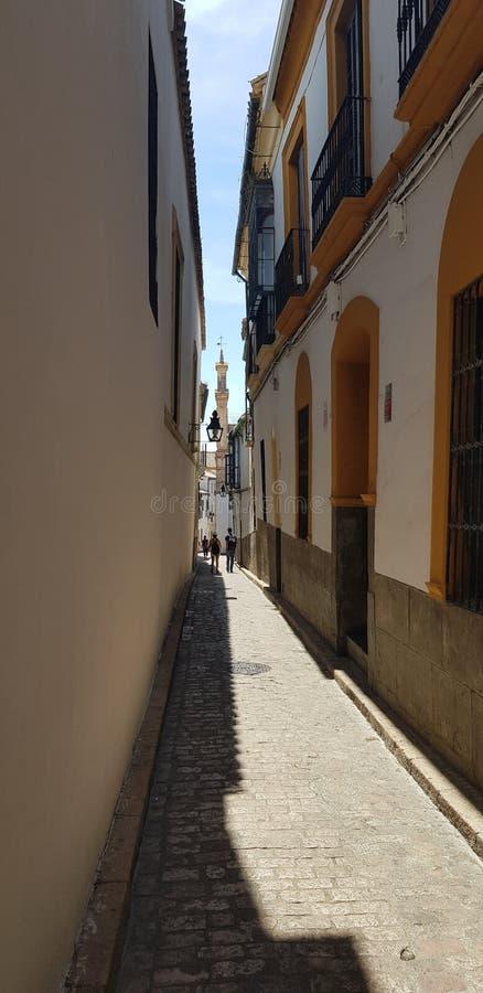Andalusische schmale Ziegelsteinstraße lizenzfreie stockfotos