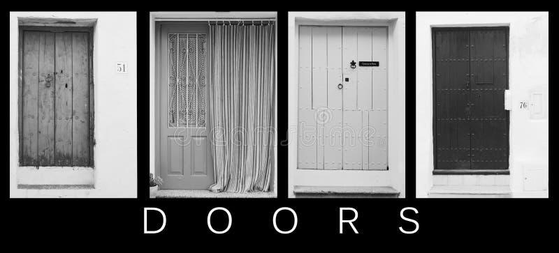 Andaluzyjski drzwi kolaż zdjęcia stock