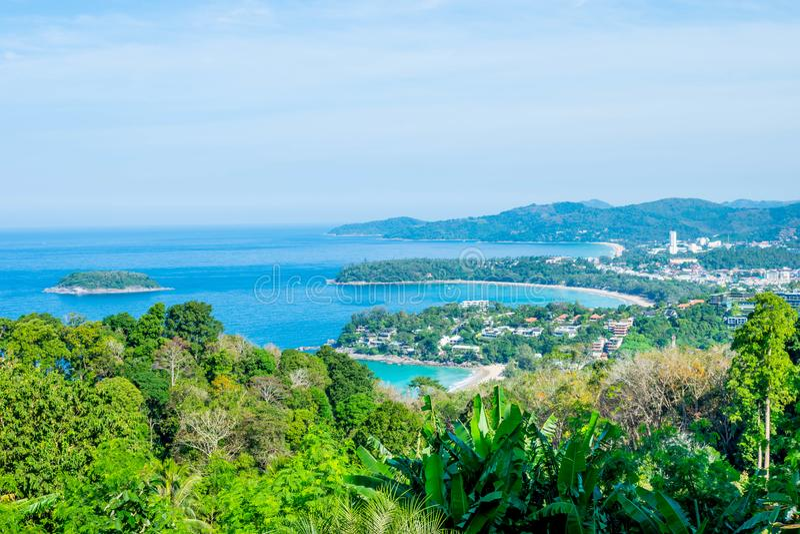 Andaman landskap av Phuket Patong strand, Karon strand, Kata Bea royaltyfria bilder