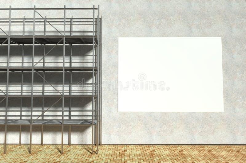 andamio 3d y cartelera publicitaria en blanco stock de ilustración