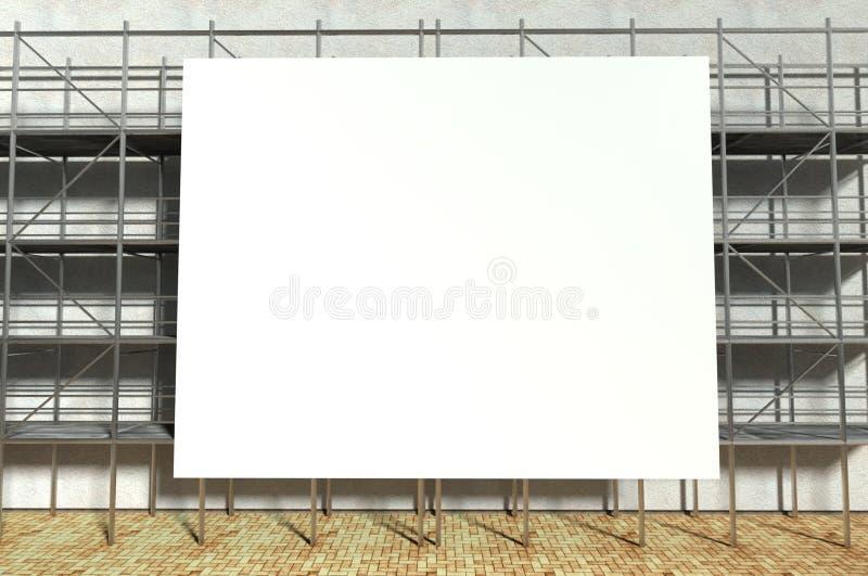 andamio 3d y cartelera publicitaria en blanco fotos de archivo