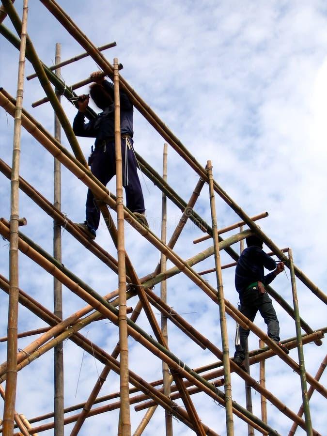 Andamio de bambú imágenes de archivo libres de regalías