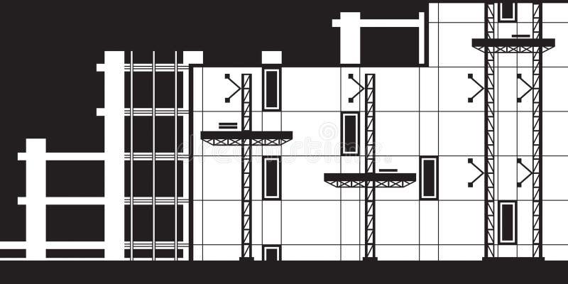 Andamio para la instalación de la pared de cortina ilustración del vector