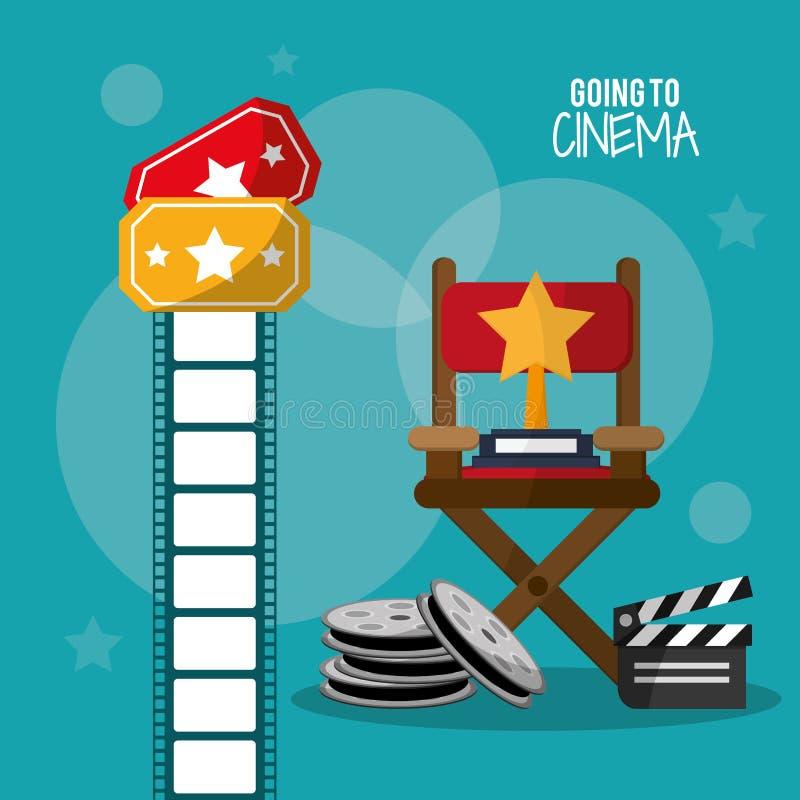Andando alla striscia di pellicola ed ai biglietti della valvola della bobina del cinema illustrazione vettoriale