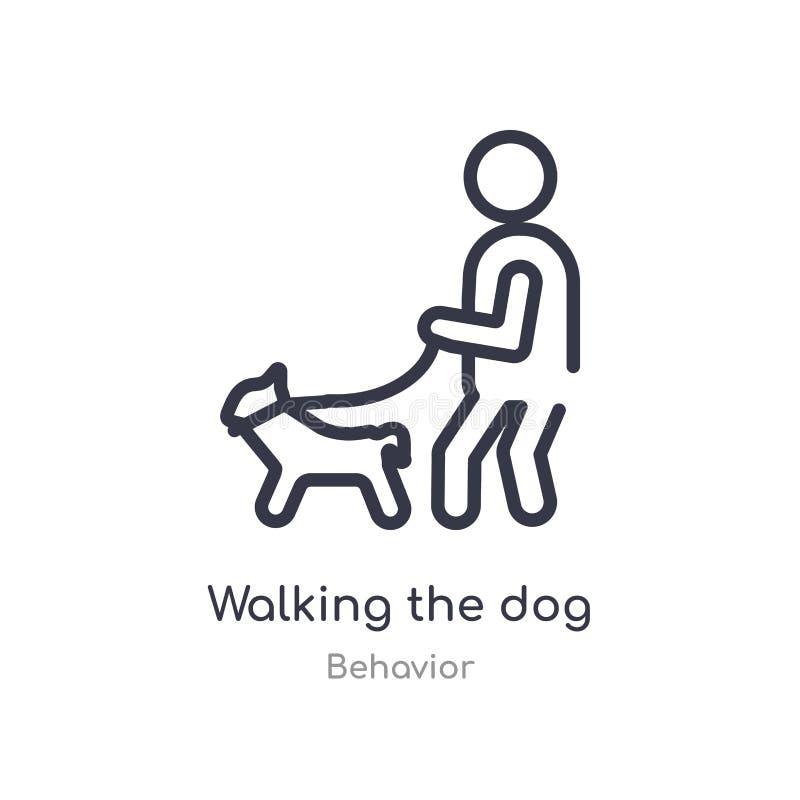 andando o ícone do esboço do cão linha isolada ilustra??o do vetor da cole??o do comportamento curso fino editável que anda o cão ilustração do vetor