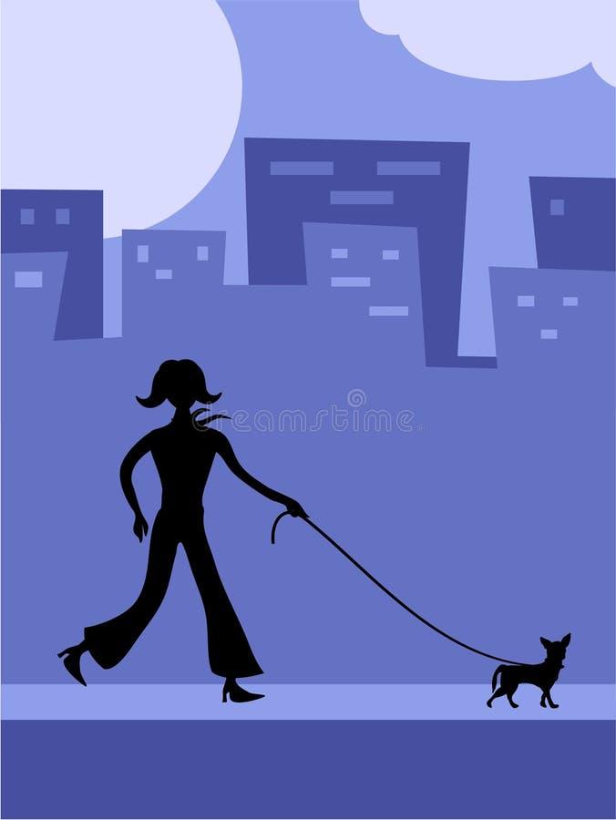 Andando o cão ilustração stock