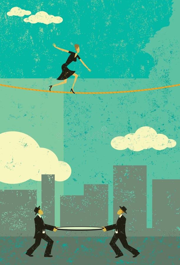 Andando um tightrope ilustração royalty free