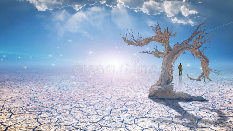 Andarilho na lama secada ilustração do vetor