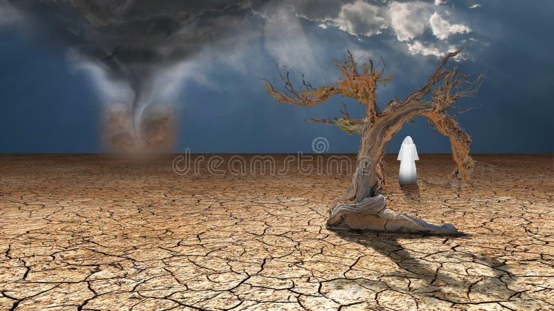Andarilho na lama secada do deserto ilustração do vetor
