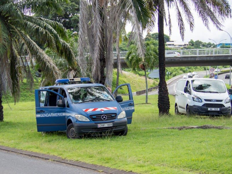 Żandarmerii policja na przedmieściach Papeete, Tahiti, Francuski Polynesia zdjęcia stock