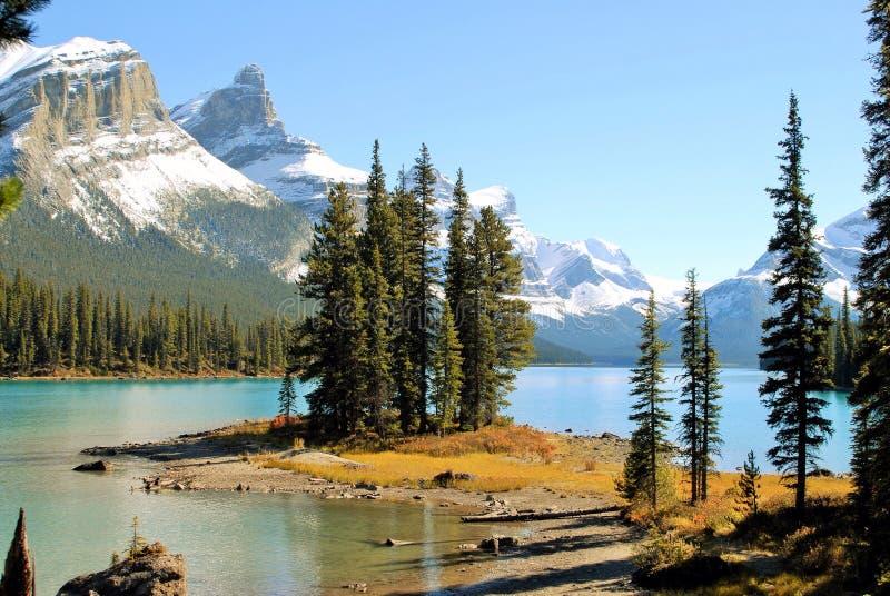 Andeö och Maligne sjö i Jasper National Park, Alberta, Kanada, UNESCOvärldsarv arkivfoton