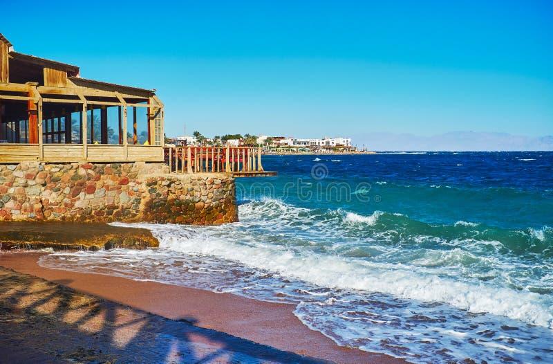 Ande ao longo da praia de Dahab, Sinai, Egito imagem de stock