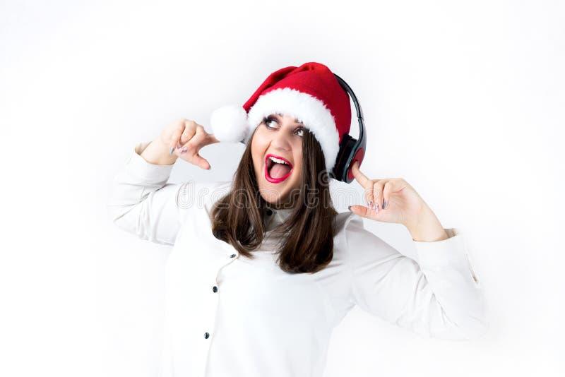 Ande av den tjocka flickan för jul i den Santa Claus lockmodellen XXL, wom fotografering för bildbyråer