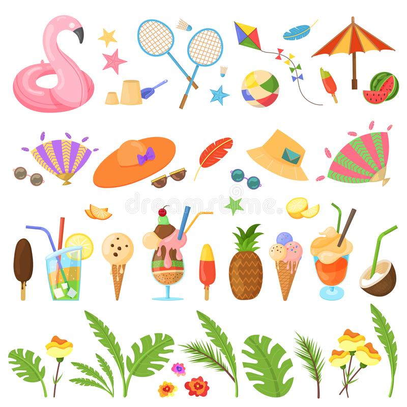 Ande av sommar, sommartiduppsättning stock illustrationer