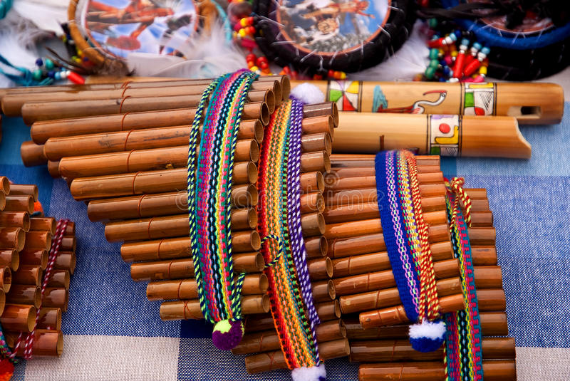 Andean flutes. On a stand royalty free stock images