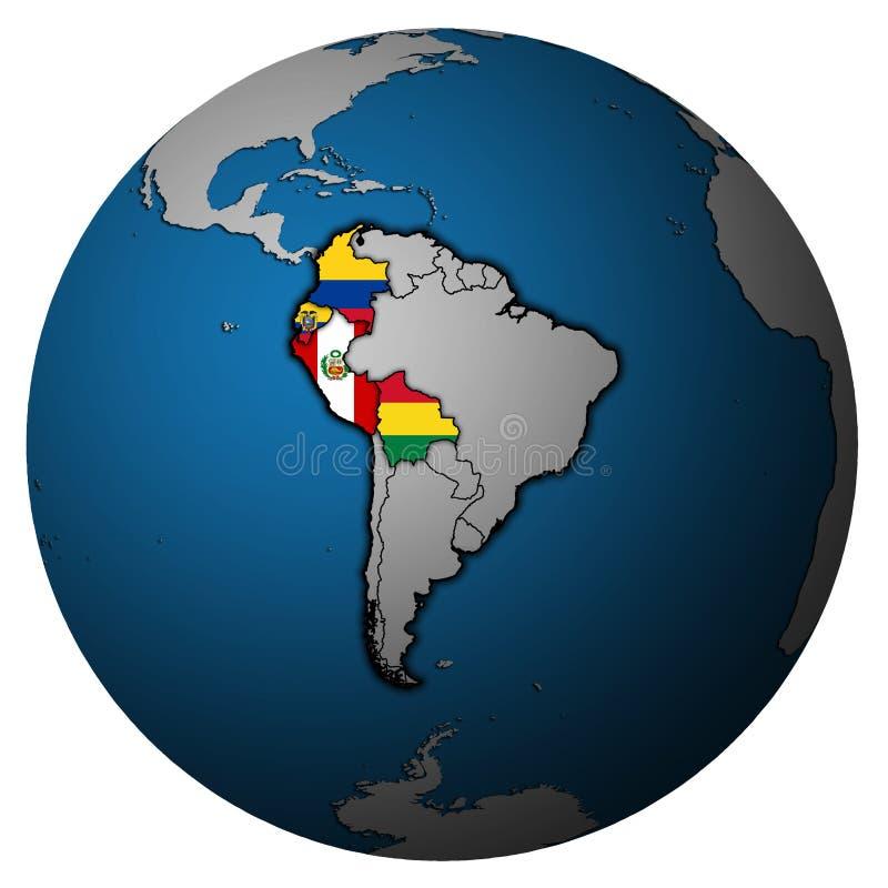 Andean gemenskap på jordklotöversikt stock illustrationer