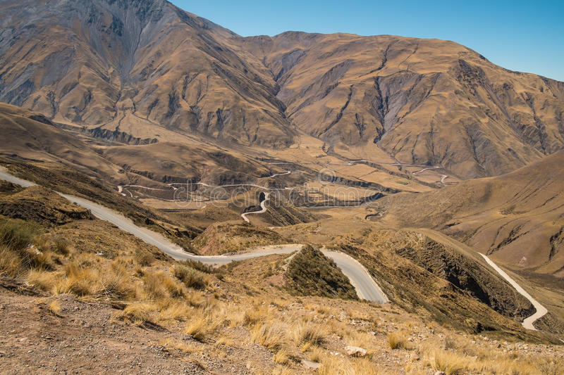 Andean mountain pass road royalty free stock photo