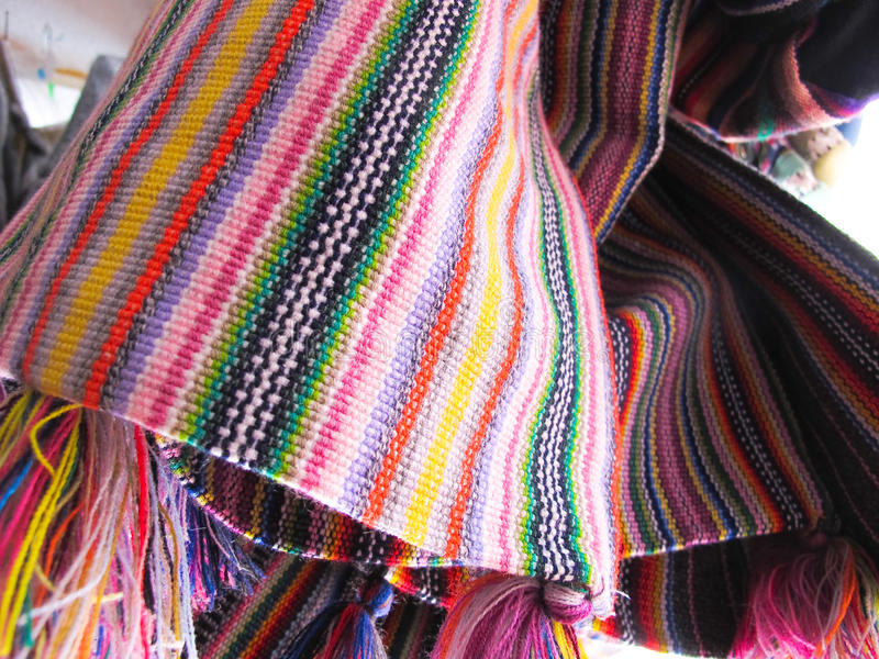 Andean ponchos, Chile stock image