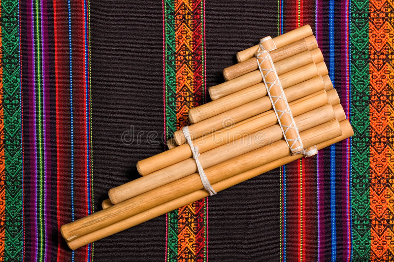 Andean wind musical instrument stock photo