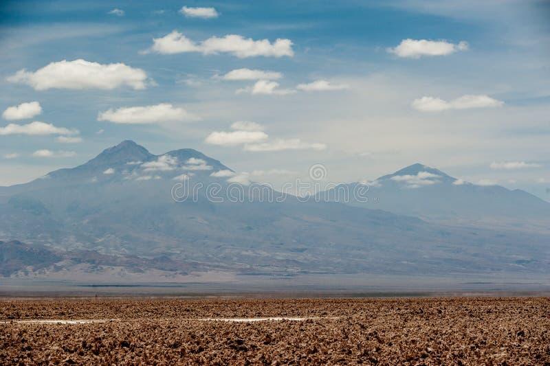 Andebergen en Meer Chaxa dichtbij San Pedro de Atacama, Chili Chaxalagune, Atakama Salar, Chili: Ongebruikelijk landschap van zou stock foto's