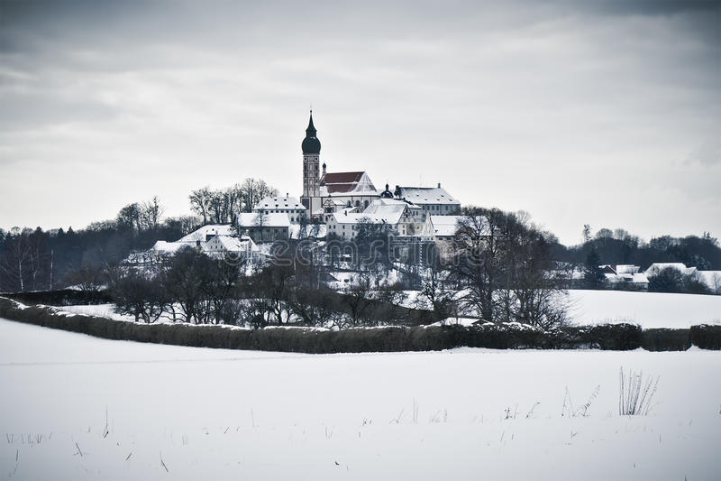 andechs χειμώνας τοπίου μοναστηριών στοκ εικόνες