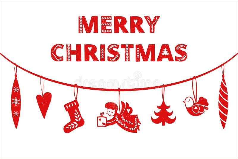 Andel simple rouge de Noël, arbre oiseau, style nordique scandinave de jouets Noël, carte d'invitation de nouvelle année cadeau o illustration libre de droits