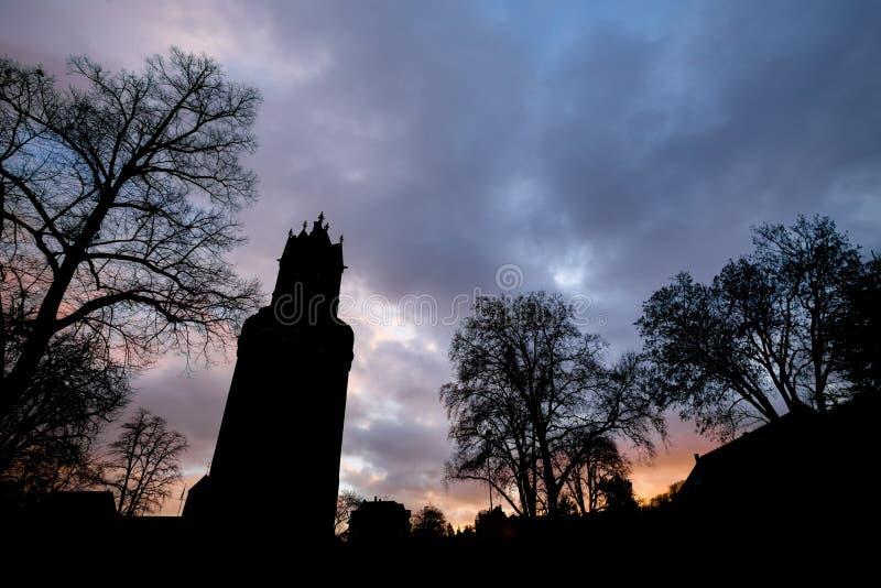 Andernach historyczny miasto w Germany wieczór sylwetkach zdjęcie royalty free
