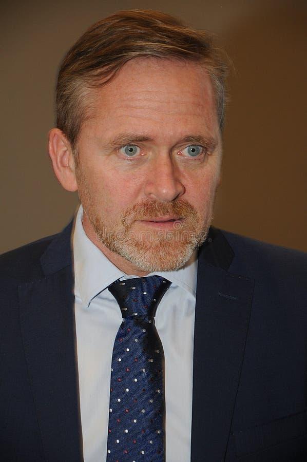 ANDERS SMUELSEN-DANISH minister FO CUDZOZIEMSKI - sprawy zdjęcie stock