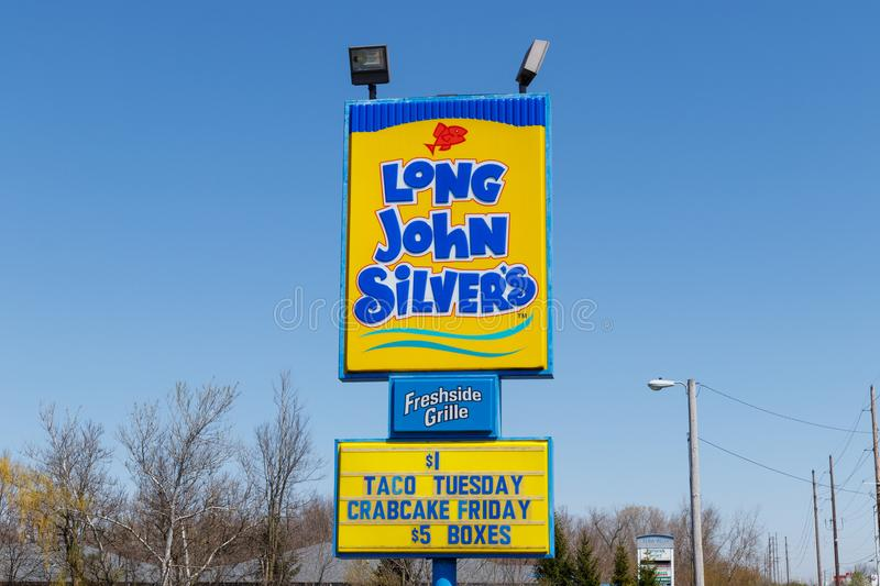 Anderson - Circa April 2018: Long John Silver`s fast food location. Long John Silver`s specializes in fried fish meals II stock images