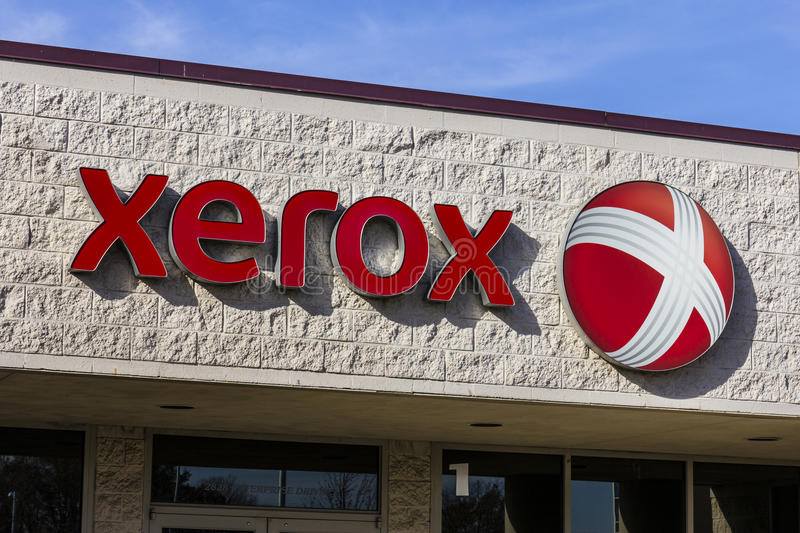 Anderson - Circa November 2016: Xerox Corporation Logo and Signage at a Customer Care Center. Xerox designs and sells copiers I stock photo