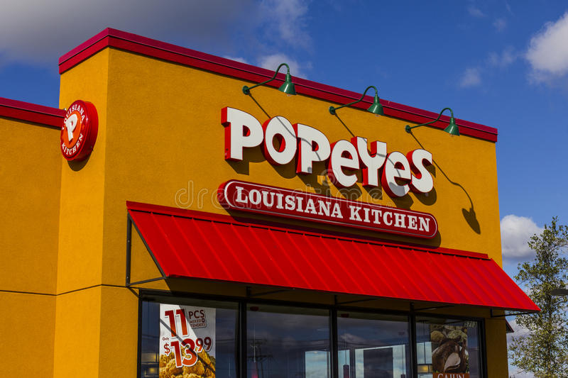 Anderson - Circa October 2016: Popeyes Louisiana Kitchen Fast Food Restaurant. Popeyes is known for Cajun Style Fried Chicken II royalty free stock photos