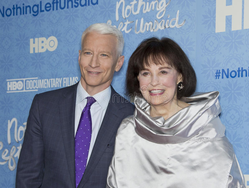 Anderson Cooper and Gloria Vanderbilt. CNN anchorman and tv personality Anderson Cooper and his mother, 92-year-old member of society royalty, Gloria Vanderbilt royalty free stock images