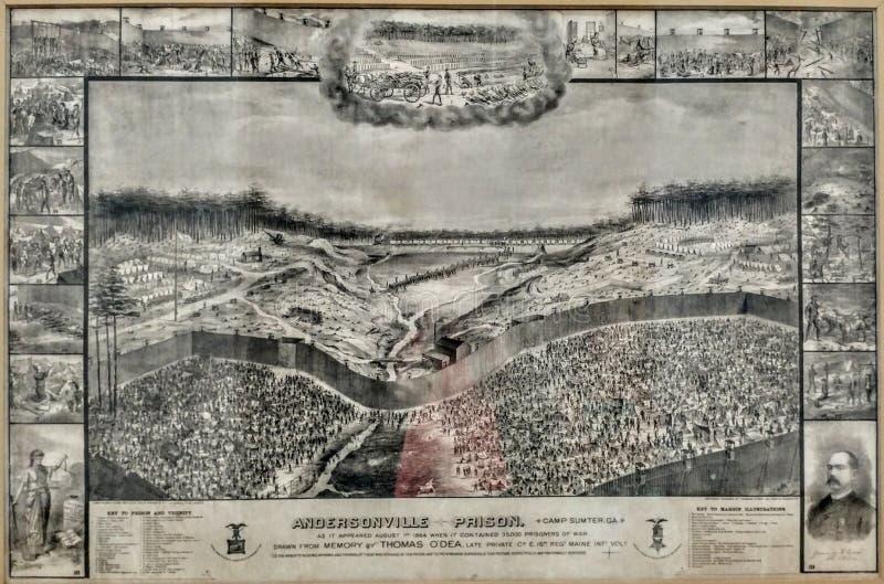 Andersonville gdy ono był 1864 obraz royalty free