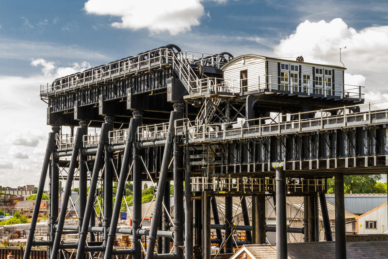 Anderton Boat Lift, canal escalator. Upper trough of the Anderton Boat Lift, which raises narrowboats between River Weaver the Trent and Mersey Canal. England royalty free stock photo