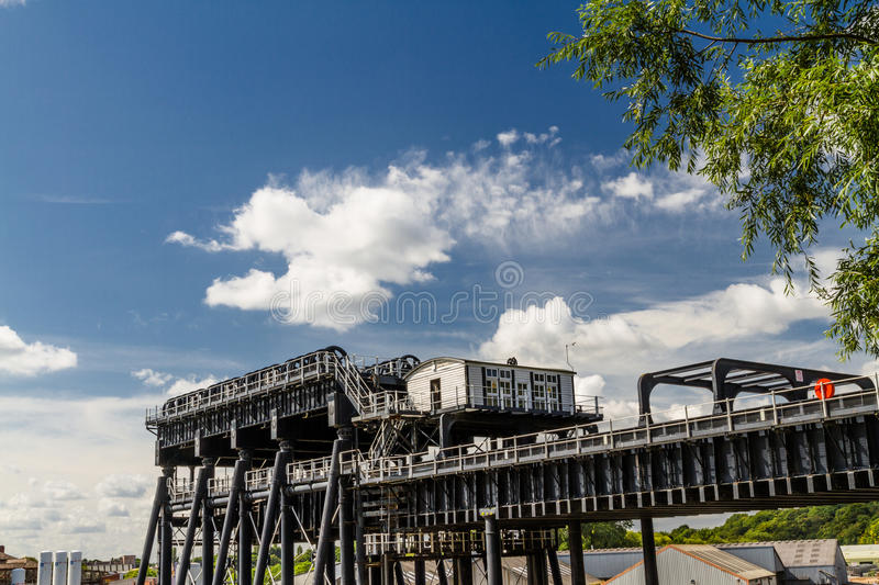 Anderton Boat Lift, canal escalator. Upper trough of the Anderton Boat Lift, which raises narrowboats between River Weaver the Trent and Mersey Canal. England stock images