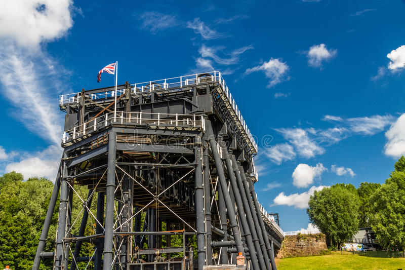Anderton Boat Lift, canal escalator. The Anderton Boat Lift, which raises narrowboats between River Weaver the Trent and Mersey Canal. England, United Kingdom stock photos