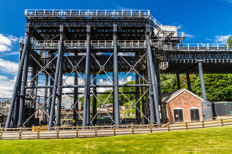 Anderton Boat Lift, canal escalator. The Anderton Boat Lift, which raises narrowboats between River Weaver the Trent and Mersey Canal. England, United Kingdom royalty free stock images