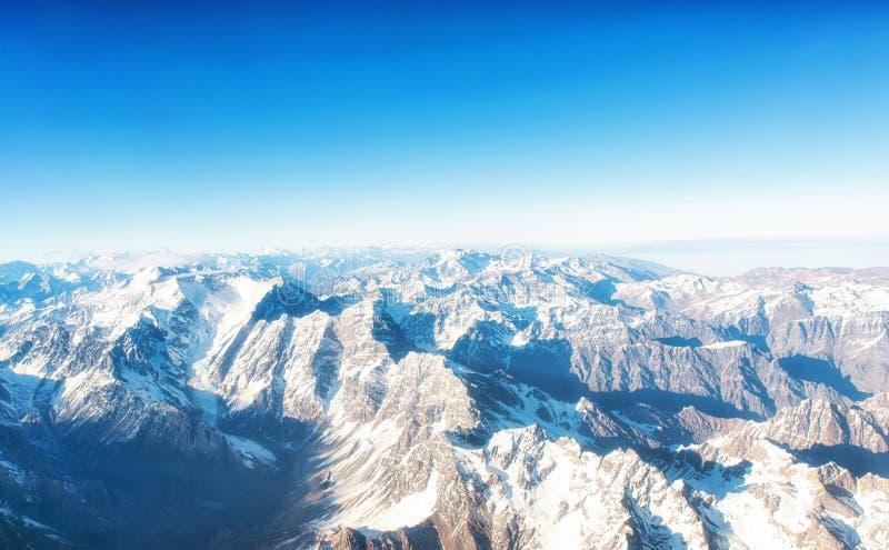 Andes Mountains Cordillera de los Andes vista dalla finestra di un aereo immagine stock