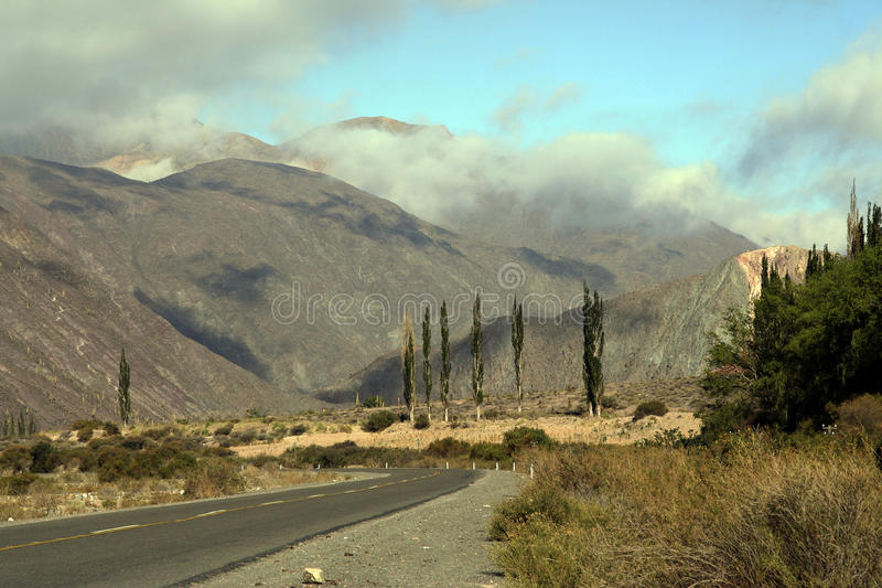 Road 51 in Salta province, Argentina. Image of The Andes mountains taken from the Road 51 that goes from Salta to San Antonio de los Cobres cities, in Salta royalty free stock photo