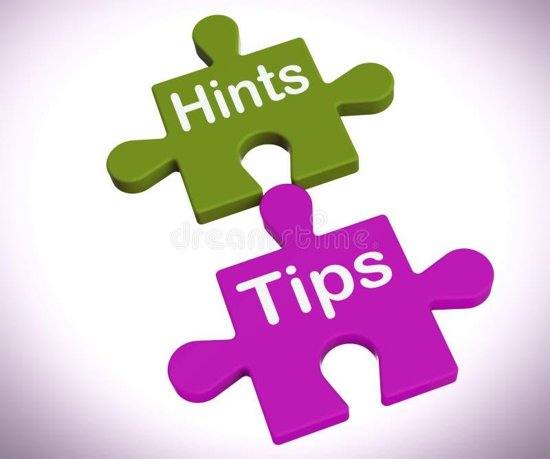 Andeutungs-Tipp-Puzzlespiel zeigt Vorschläge und Unterstützung stock abbildung