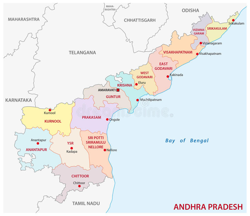 Andhra Pradesh Administrative And Political Map India Stock Vector