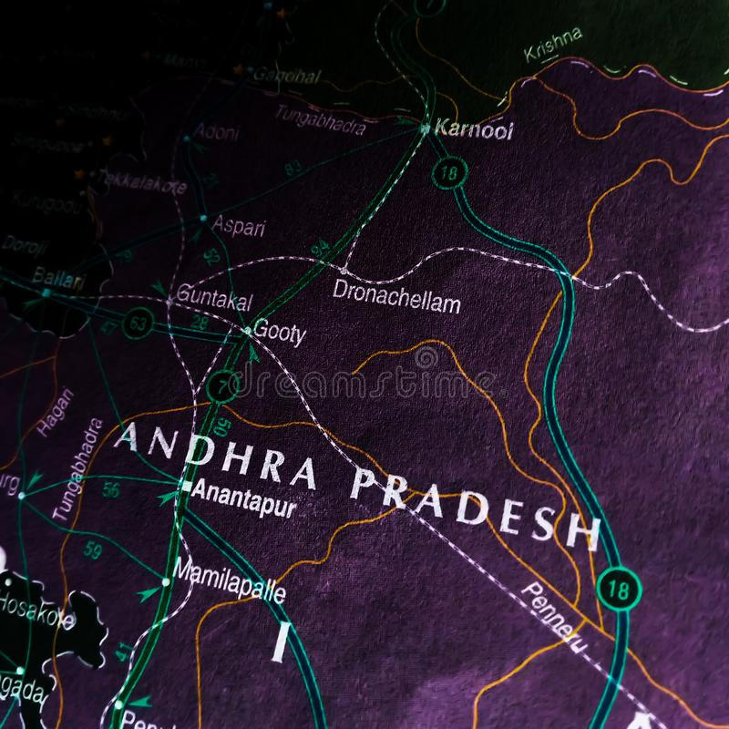 Andhra Pradesh state of India displaying on geographical location map stock image