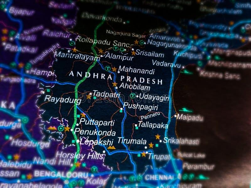 Andhra pradesh state of India name presented on geographical location map. Jammu, kashmir, located, telangana, odisha, city, displayed, delhi, displaying stock images