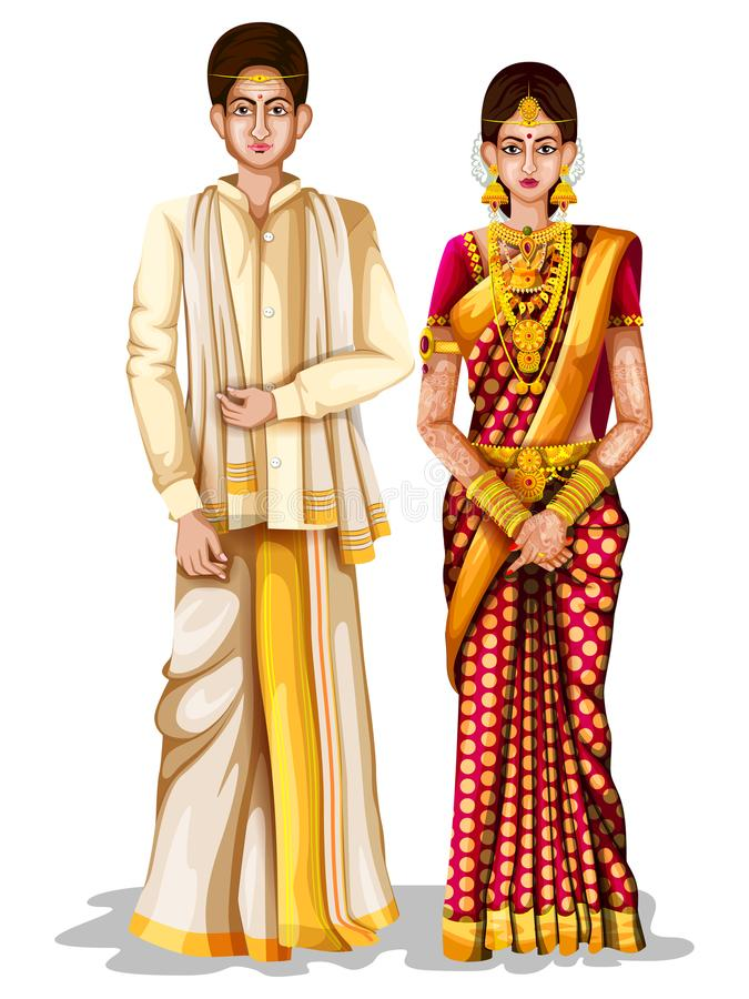 Andhrait在安得拉邦,印度传统服装的婚礼夫妇  向量例证