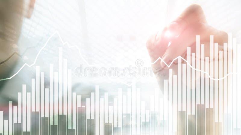 andle Financiële grafieken en de diagrammen van de Grafiek de Dubbele blootstelling Bedrijfs, economie en investeringsconcept royalty-vrije stock foto