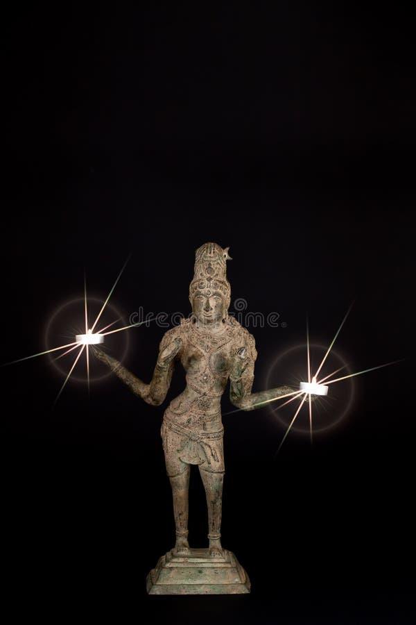 Andlig insikt Hinduisk gudinna Lakshmi med gudomligt ljus arkivbilder