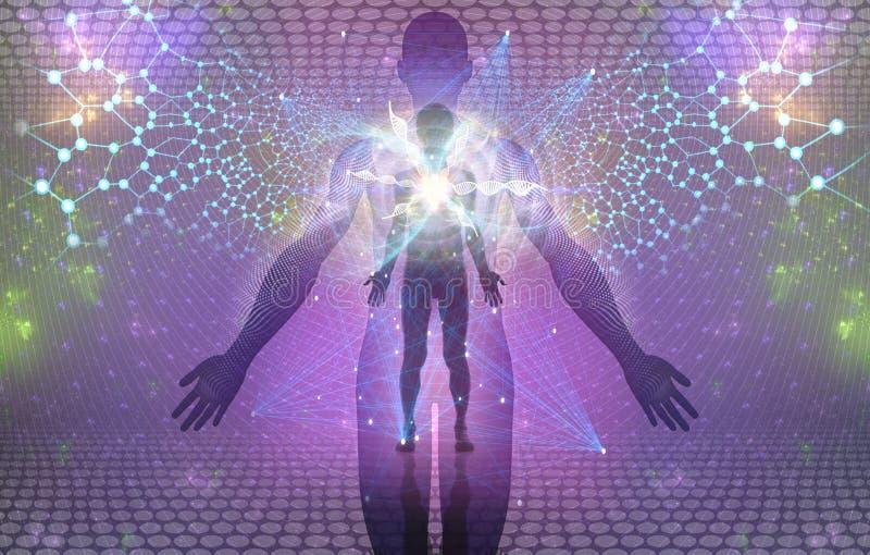 Andlig mänsklig uppvaknande eller Enlightment begrepp vektor illustrationer
